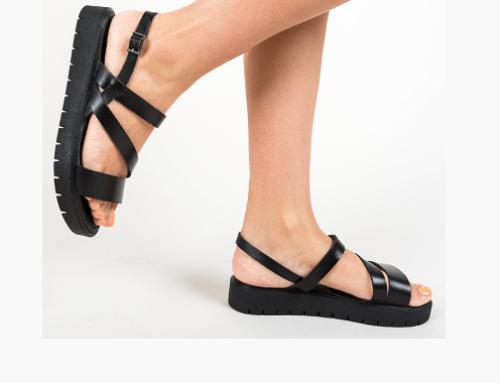 Sandale cu talpă joasă Thordis RLV7EQ de damă casual negre din piele naturală, Omy
