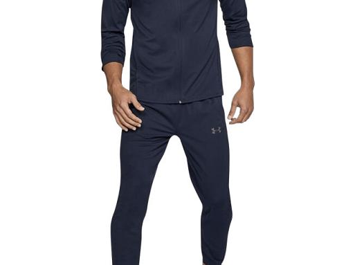 Trening albastru jogging LNQ4U Under Armour pentru bărbați, cu buzunare și talie elastică, Challenger II Knit