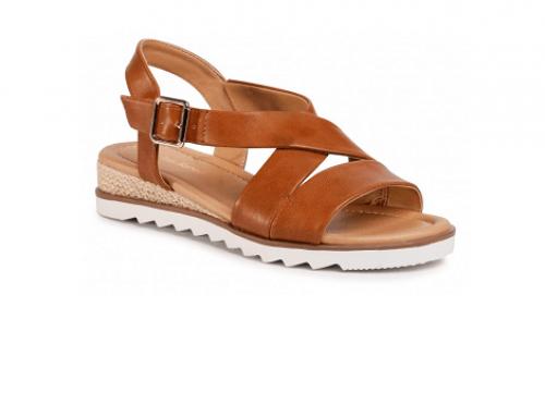 Clara Barson RLN4EQ Jenny, sandale de damă casual cu talpă plată și fără toc, maro