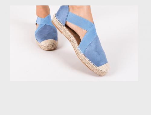 Espadrile elastice Colette RMV4TWQ de damă albastre din material textil cu talpă plată și joasă