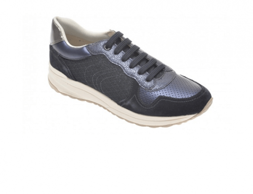 Geox LHM4FU Capri, pantofi sport de damă bleumarin din piele naturală și material textil
