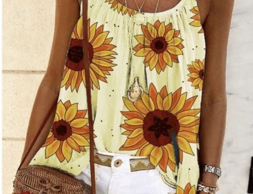 Tricou cu bretele subțiri Soraya VGQ5UL de damă casual drept cu imprimeu floarea soarelui
