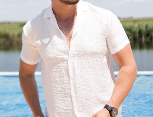 Theron PL4URH, cămașă albă pentru bărbați casual vaporoasă cu mâneci scurte