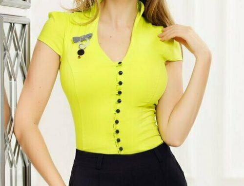 Davina YH4NGQ Fofy, cămașă de damă office din bumbac, verde neon, cambrată, cu mânecă scurtă