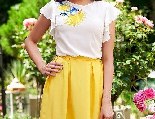 Compleu de damă Uniqua HND4RQ StarShiners elegant cu bluză albă și fustă în cloș galbenă