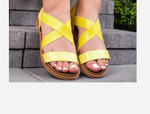 Sandale de damă Gustava LMT4RVQ casual cu talpă joasă, fără toc, galbene, din piele ecologică