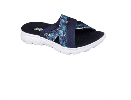 BF4SQ Skechers Wafa, papuci de damă ușori cu bretele încrucișate, bleumarin, din material textil