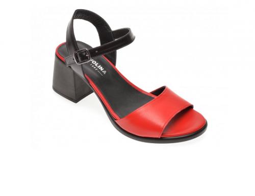 Sandale cu toc masiv MB5VQ Tervolina de damă office roșii din piele naturală
