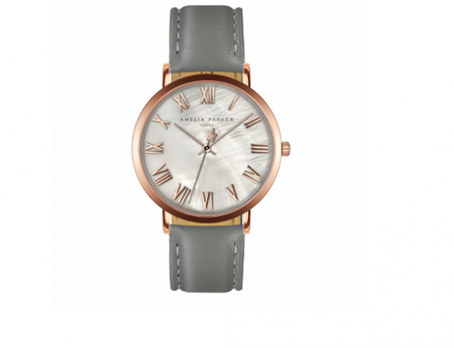 Amelia Parker FLU5BQ, ceas damă cu brățară din piele, AB8-S058R, carcasă rotundă, 3ATM, Quartz