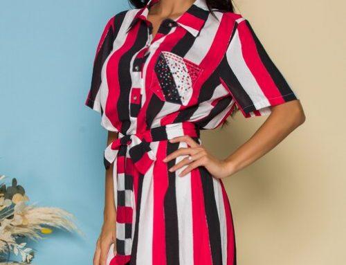Britta WLV4RQ, rochie lejeră stil cămașă cu imprimeu în dungi, cordon în talie și mâneci scurte