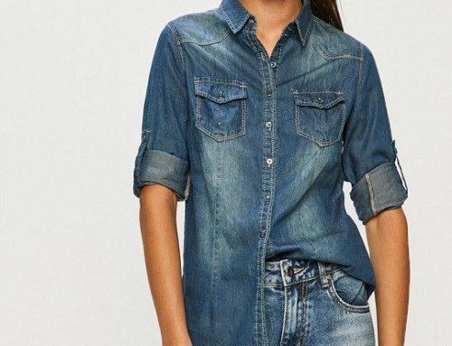 WLB4TQ Answear Suri, cămașă damă de blugi casual albastră cu mânecă lungă și buzunare