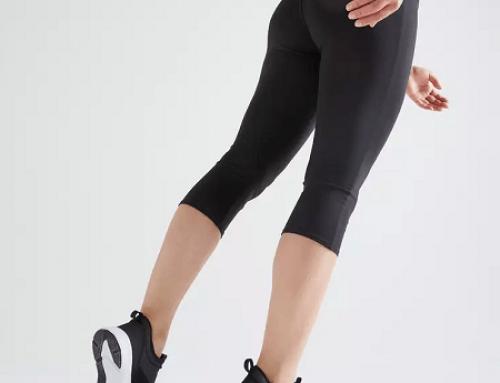 Colanți damă TLG4W Domyos 3 sferturi pentru fitness, cu talie elastică semi-înaltă, negri