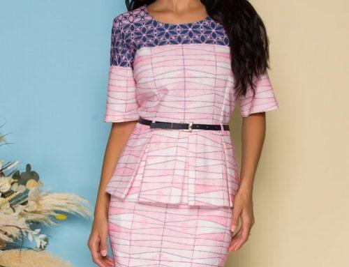 Fronia ELW4BLU, costum damă elegant roz cu peplum și curea, cambrat, cu bluză și fustă