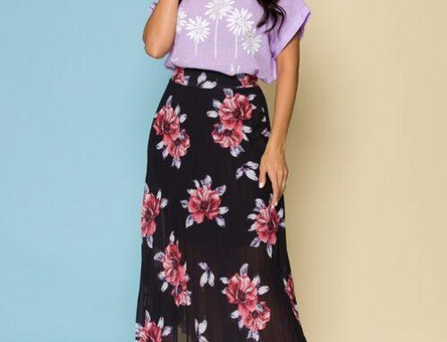 Fustă cu pliuri TL4UFW Pammie neagră cu imprimeu floral, Martha, în cloș și cu elastic în talie