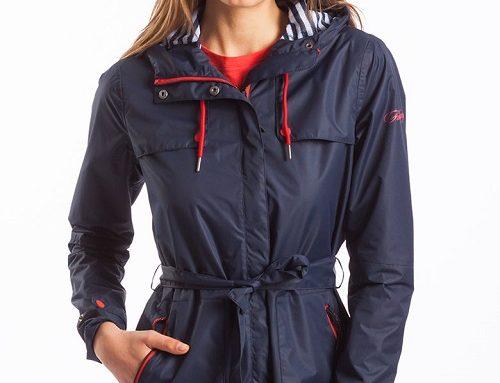 FLH5N Fundango Shira, jachetă damă parka cu glugă și șnur în talie, impermeabilă, bleumarin