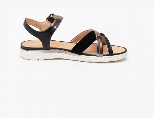Geox WLG4TA Selene, sandale de damă casual din piele naturală cu talpă plată și joasă