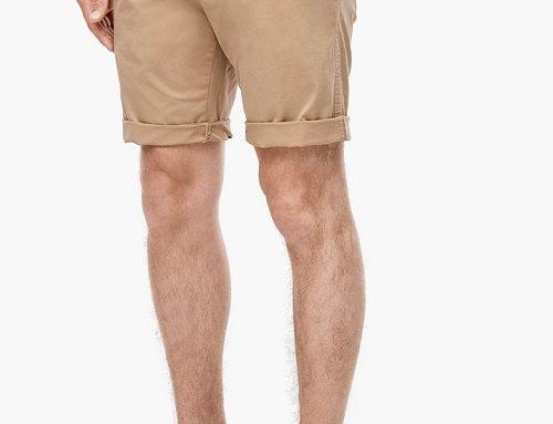 LBV4YQ s.Oliver Myron, pantaloni scurți bărbați din bumbac stil chino cu curea, bej