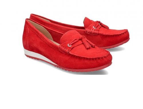 Mocasini roșii Caprice LDS4Q Uvelia de damă casual din piele întoarsă cu talpă plată