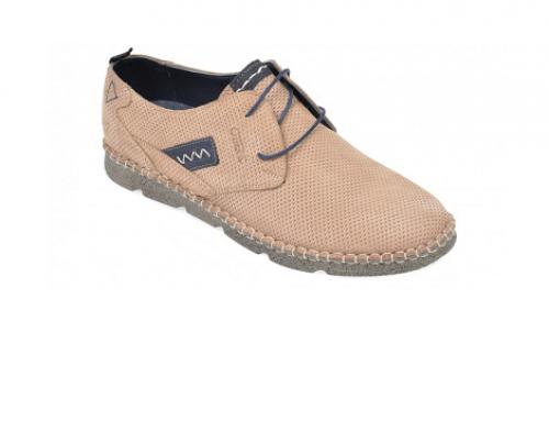 Pantofi bărbați OTTER ULF4BQ Griffin casual din piele nabuc cu talpă plată, maro