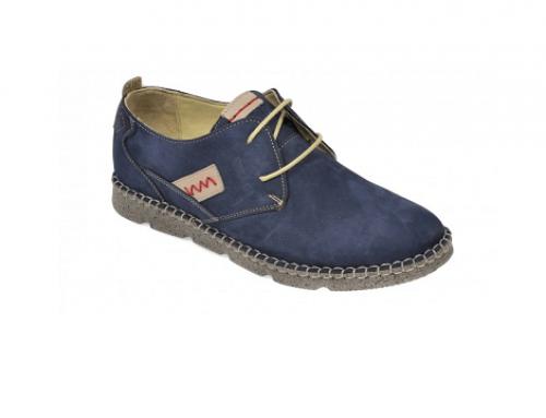 Pantofi Otter L-WQ5UG pentru bărbați din piele nabuc, casual, bleumarin, cu cusături pe margine