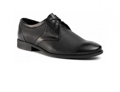 Pantofi bărbați Sergio Bardi ELW5NT office din piele naturală, negri, cu șireturi