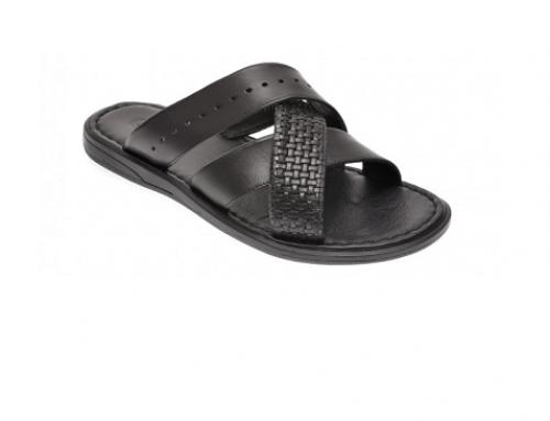 Papuci din piele naturală OTTER Zephan GH5DQ bărbați negri casual cu talpă plată