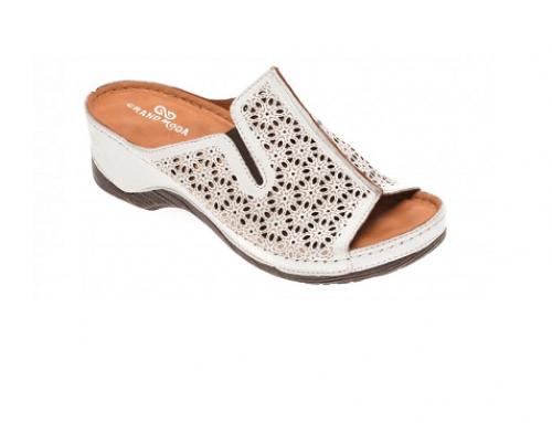 Papuci cu perforații EL4FDQ Grand Moda de damă cu toc gros din piele naturală albi