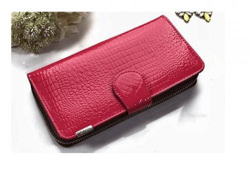 Portofel Lizeth H-FLG5W de damă elegant din piele naturală lăcuită, roșu, cu imprimeu croco