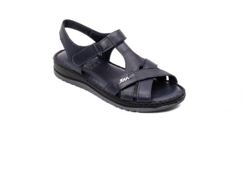 Dahlia QLH5U, sandale damă cu talpă plată Pass Colection, din piele naturală, bleumarin