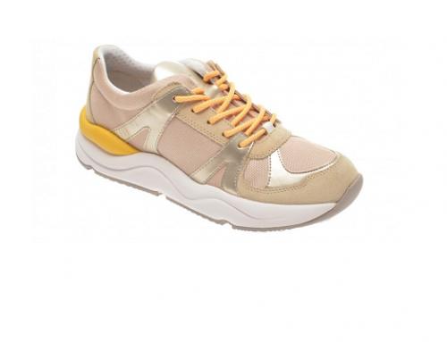 Pantofi sport cu piele naturală Geox EDW5N Nubia, de damă, cu branț capitonat cu piele, bej
