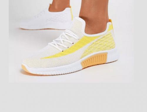 Pantofi sport Vianna ELW4UQ de damă galbeni din material textil și cu talpă plată