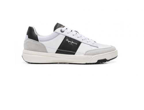 Pantofi sport L-VH4WQ Pepe Jeans London bărbați din piele naturală, albi, cu talpă plată