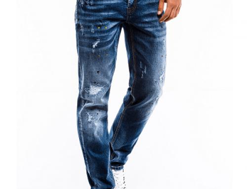 Blugi Davion E-WDL5A pentru bărbați cu uzură decorativă, albaștri, stil casual