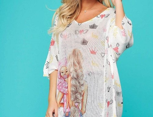 Blancha FLB4W SunShine, bluză lejeră, de damă, largă cu decolteu în V din material tricotat
