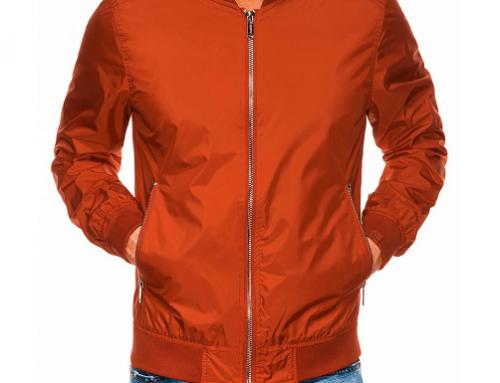 Howe LU5NDQ, geacă scurtă bărbați din fâș portocalie cu buzunare și manșete elastice