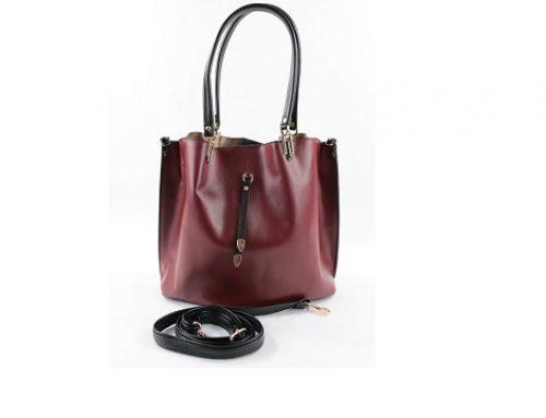 Ulissa GT4FDL, geantă de damă office bordo cu baretă de umăr detașabilă