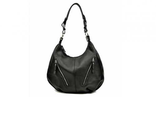 Luisa Vannini E-HW5BU, geantă damă de mână din piele naturală, neagră, cu buzunar exterior