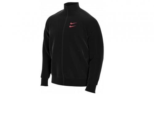 Jachetă bărbați Nike W-LBG5SQ stil sport scurtă neagră și lejeră cu buzunare, Swoosh
