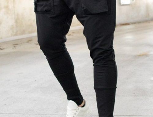 Paschal ELW4LB, pantaloni bărbați casual din bumbac negri cu buzunare în relief, YIELD