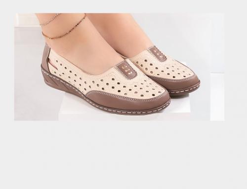 Pantofi Vannetta DLN4UTW de damă casual cu talpă joasă, perforații și toc plat, bej