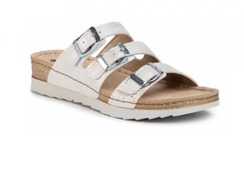 Papuci de damă WLH4MT Inblu argintii cu talpă plată, Serena, cu catarame metalice
