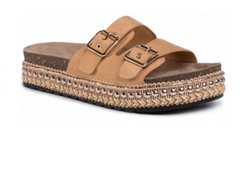 Papuci cu catarame DeeZee HLB4TQ de damă casual maro cu aplicații decorative