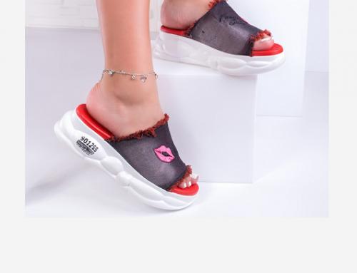 Papuci de damă Nobuko ELB4WQ casual cu platformă din material textil cu inserție decorativă