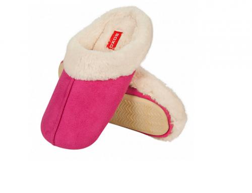 Palmyra Soxo ULD4EW, papuci de damă de casă pufoși, plușați cu talpă antiderapantă, roz ascuțit