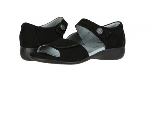 Sandale de damă TLE4WQ David Tate casual din piele naturală negre cu talpă joasă