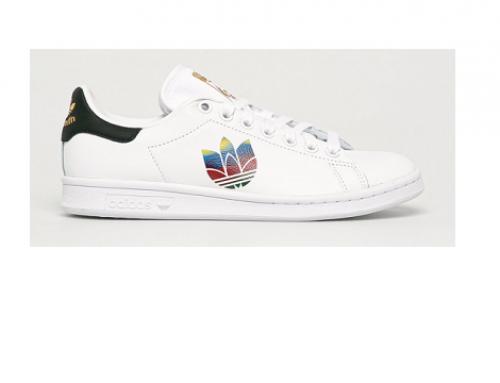 Pantofi sport din piele naturală U-L5SEQ Adidas Originals de damă albi cu talpă plată, Stan Smith