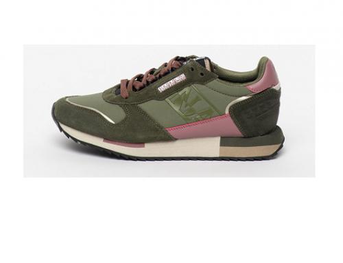 Napapijri E-WhD5Q, pantofi sport de damă din piele întoarsă, verde militar, Beaver