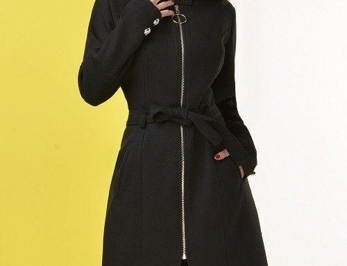 Palton cu fermoar Varda H-DS4AQ de damă negru cu amestec din lână și cordon în talie