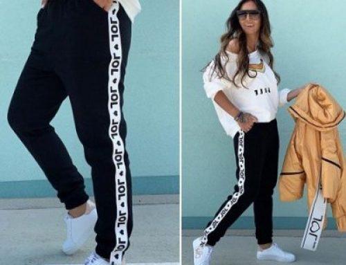 Margo HqL5T-G, pantaloni de trening damă tip jogger din bumbac cu buzunare și dungă albă