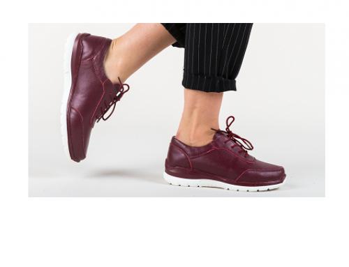 Beatriz GwH3Q, pantofi de damă casual din piele naturală grena cu șiret, Walsh